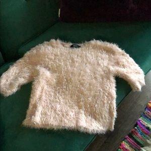F21 Fuzzy Blush Pink Cropped 90s Sweater